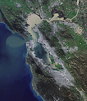 aerial map of the San Francisco Bay Area, California