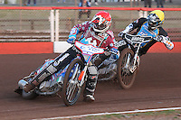 Heat 2: Richard Lawson (red) and Richie Worrall - Vortex Lakeside Hammers vs Kings Lynn Stars - Sky Sports Elite League Speedway at Arena Essex Raceway, Purfleet - 23/04/13 - MANDATORY CREDIT: Gavin Ellis/TGSPHOTO - Self billing applies where appropriate - 0845 094 6026 - contact@tgsphoto.co.uk - NO UNPAID USE.