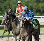 10 July 2010: Golden Spikes and Jockey Elvis Trujillo after the Smile Sprint Handicap at Calder Race Course in Miami Gardens, FL.