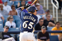 March 13, 2010 - Milwaukee Brewers' Trent Oeltjen (#65) during a spring training game against the Colorado Rockies at Maryvale Baseball Park in Maryvale, Arizona.