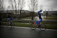 Roy Jans (BEL/Wanty-Groupe Gobert) getting on a rainjacket<br /> <br /> 70th Dwars Door Vlaanderen 2015