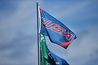 A Conference USA banner flies above Hayes Stadium during the NCAA baseball game between the Old Dominion Monarchs and the Charlotte 49ers on April 25, 2021 in Charlotte, North Carolina. (Brian Westerholt/Four Seam Images)