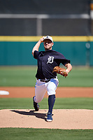 Detroit Tigers starting pitcher Jordan Zimmermann (27) delivers a pitch during a Grapefruit League Spring Training game against the Atlanta Braves on March 2, 2019 at Publix Field at Joker Marchant Stadium in Lakeland, Florida.  Tigers defeated the Braves 7-4.  (Mike Janes/Four Seam Images)