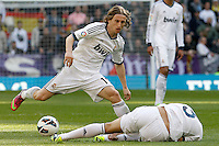 Real Madrid's Luca Modric (l) and Pepe during La Liga match.March 02,2013. (ALTERPHOTOS/Acero) /NortePhoto