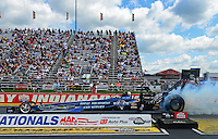 Sept 9, 2012; Clermont, IN, USA: NHRA top fuel dragster driver J.R. Todd during the US Nationals at Lucas Oil Raceway. Mandatory Credit: Mark J. Rebilas-