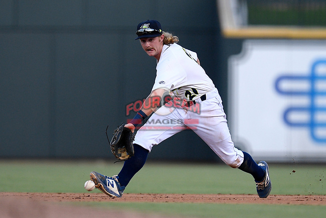 Second baseman Nick Conti (21) of the Columbia Fireflies plays defense in a game against the Rome Braves on Saturday, August 17, 2019, at Segra Park in Columbia, South Carolina. Rome won, 4-0. (Tom Priddy/Four Seam Images)