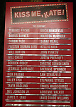 """Lobby Cast Board during the Broadway Opening Night Curtain Call for """"Kiss Me, Kate""""  at Studio 54 on March 14, 2019 in New York City."""