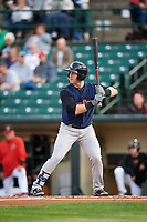Scranton/Wilkes-Barre RailRiders right fielder Billy McKinney (10) at bat during the first game of a doubleheader against the Rochester Red Wings on August 23, 2017 at Frontier Field in Rochester, New York.  Rochester defeated Scranton 5-4 in a game that was originally started on August 22nd but was postponed due to inclement weather.  (Mike Janes/Four Seam Images)
