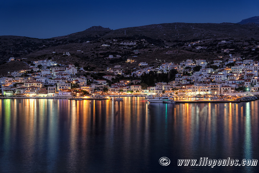 The picturesque village of Batsi by night in Andros, Greece