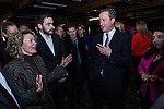 © Joel Goodman - all rights reserved . 08/01/2014 . Manchester , UK . David Cameron meets guests . The British Prime Minister , David Cameron , and the Chancellor of the Exchequer , George Osborne , deliver speeches on the economy and on the economic development and devolution of powers to the North West of England at the Old Granada Studios , Quay Street , Manchester . Photo credit : Joel Goodman