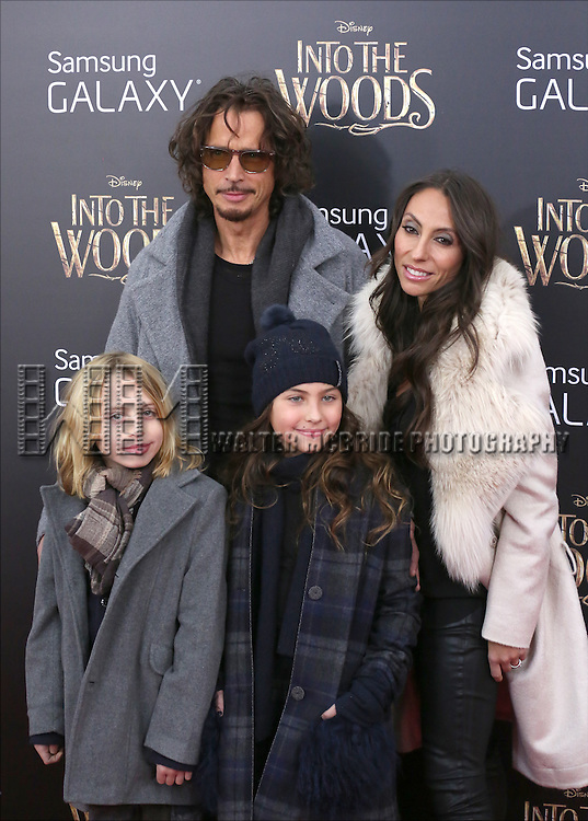 Chris Cornell and family attend the 'Into The Woods' World Premiere at Ziegfeld Theater on December 8, 2014 in New York City.