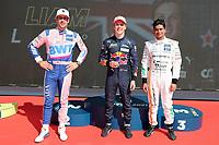 4th September 2021; Red Bull Ring, Spielberg, Austria; DTM  Race 1 at Spielberg;   Maximilian Goetz GER Mercedes-AMG Team HRT - Mercedes-AMG GT3, raec 1 winner Liam Lawson NZ Red Bull AF Corse, Ferrari 488 GT3 Evo and Arjun Maini IN Mercedes-AMG Team GetSpeed, Mercedes-AMG GT