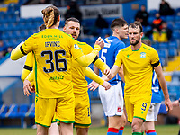 18th April 2021; Stair Park, Stranraer, Dumfries, Scotland; Scottish Cup Football, Stranraer versus Hibernian; Martin Boyle of Hibernian celebrates after scoring for 0-4 from the penalty sport in minute 84 with Jackson Irvine of Hibernian