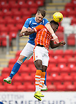 St Johnstone v Blackpool...25.07.15  McDiarmid Park, Perth.. Pre-Season Friendly<br /> Gareth Rodger gets above Bright Samuel<br /> Picture by Graeme Hart.<br /> Copyright Perthshire Picture Agency<br /> Tel: 01738 623350  Mobile: 07990 594431