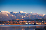 Polson, Montana on the southern edge of Flathead Lake with the Mission Mountains on the east side