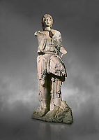 Roman statue of Alexander The Great. Marble. Perge. 2nd century AD. Inv no 2.23.93. Antalya Archaeology Museum; Turkey.  Against a grey background