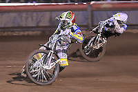 Heat 7: Chris Holder (red) and Scott Nicholls (white) - Lee Richardson Memorial Speedway Meeting at Arena Essex Raceway, Purfleet - 28/09/12 - MANDATORY CREDIT: Gavin Ellis/TGSPHOTO - Self billing applies where appropriate - 0845 094 6026 - contact@tgsphoto.co.uk - NO UNPAID USE.