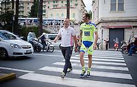 DS Steven De Jongh (NLD/Tinkoff-Saxo) & Ivan Basso (ITA/Tinkoff-Saxo) returning from the Giro 2015 Official Team Presentation (in San Remo)