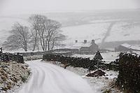 Snow on road near Botton Head, Lancashire between High Bentham and Slaidburn.