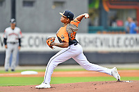 """Asheville Tourists starting pitcher Jose Alberto Rivera (28) delivers a pitch during a game against the Aberdeen IronBirds on June 20, 2021 at McCormick Field in Asheville, NC. Tourists players were wearing jerseys for the """"Yacumamas de Asheville"""", as part of Minor League Baseball's """"Copa de la Diversion"""". (Tony Farlow/Four Seam Images)"""