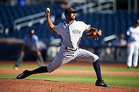 Scottsdale Scorpions pitcher Dillon Tate (50), of the New York Yankees organization, during a game against the Peoria Javelinas on October 22, 2016 at Peoria Stadium in Peoria, Arizona.  Peoria defeated Scottsdale 3-2.  (Mike Janes/Four Seam Images)