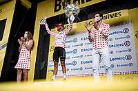 polka dot jersey / KOM leader Nairo Quintana (COL/Arkéa Samsic) on the podium at the finish in Nîmes<br /> <br /> Stage 12 from Saint-Paul-Trois-Châteaux to Nîmes (159km)<br /> 108th Tour de France 2021 (2.UWT)<br /> <br /> ©kramon
