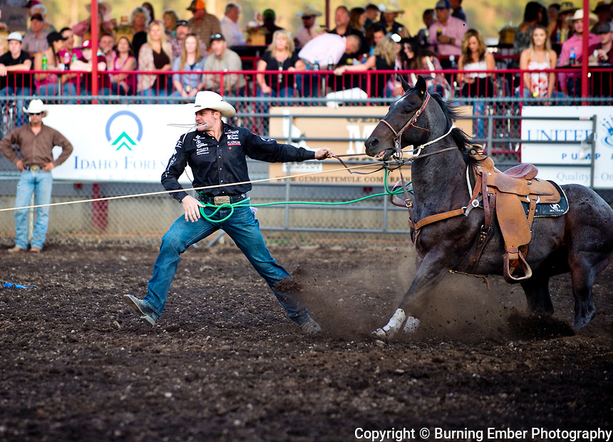 Dakota W Eldridge in the tie Down event at the Gem State Stampede 1st perf August 25th 2017.  Photo by Josh Homer/Burning Ember Photography.  Photo credit must be given on all uses.