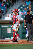 Syracuse Chiefs catcher Raudy Read (21) and umpire Jeremie Rehak during a game against the Buffalo Bisons on July 6, 2018 at Coca-Cola Field in Buffalo, New York.  Buffalo defeated Syracuse 6-4.  (Mike Janes/Four Seam Images)