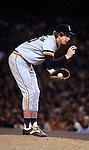 """1979:  Pitcher Mark """"The Bird"""" Fidrych #20 of the Detroit Tigers on the mound during a game in the 1979 season.  (Photo by Rich Pilling)"""