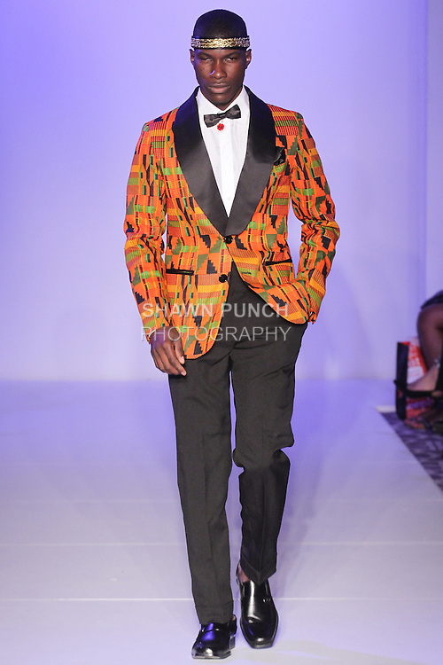 Model walks runway in an outfit from the Yaw Boateng Spring Summer 2016 collection by Yaw Boateng, at Fashion Gallery NYFW Designer's Showcase Spring Summer 2016 show, during New York Fashion Week.