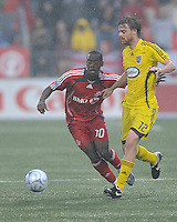 Rohan Ricketts (10) and Eddie Gaven (12) in action at  BMO Field on Saturday September 13, 2008. .The game ended in a 1-1 draw.