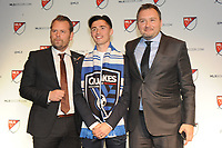 Philadelphia, PA - Thursday January 19, 2018: Mikael Stahre, Jesse Fioranelli, Paul Marie during the 2018 MLS SuperDraft at the Pennsylvania Convention Center.