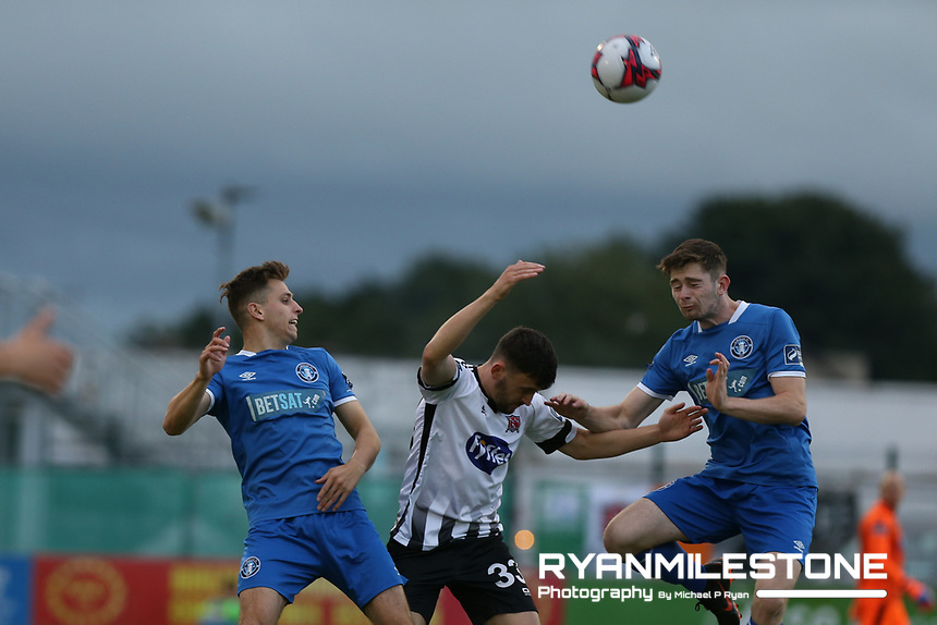 Dean Jarvis in action against Conor Ellis during the SSE Airtricity League Premier Division game between Limerick FC and Dundalk FC on Friday 31st August 2018 at Markets Field, Limerick. Photo By Michael P Ryan