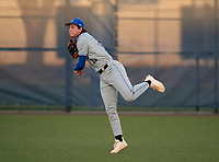 Lakeland Christian Vikings outfielder Ian Anderson (11) during warmups before a game against the Calvary Christian Warriors on February 27, 2021 at Calvary Christian High School in Clearwater, Florida.  (Mike Janes/Four Seam Images)