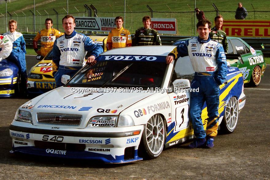 1997 British Touring Car Championship media day. #3 Rickard Rydell (SWE) & #11 Kelvin Burt (GBR). Volvo S40 Racing. Volvo S40.