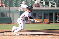 Salt River Rafters designated hitter Daulton Varsho (8), of the Arizona Diamondbacks organization, starts down the first base line during an Arizona Fall League game against the Surprise Saguaros at Salt River Fields at Talking Stick on November 5, 2018 in Scottsdale, Arizona. Salt River defeated Surprise 4-3 . (Zachary Lucy/Four Seam Images)