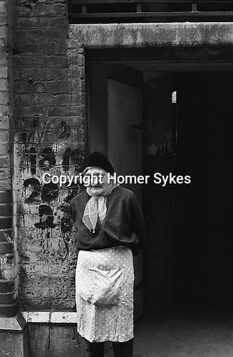Peabody Housing Estate. Tower Hamlets Whitechapel east London UK 1975. Elderly Jewish woman outside her home.