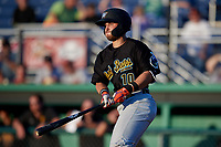 West Virginia Black Bears Kyle Wilkie (10) bats during a NY-Penn League game against the Batavia Muckdogs on June 27, 2019 at Dwyer Stadium in Batavia, New York.  West Virginia defeated Batavia 6-5 in ten innings.  (Mike Janes/Four Seam Images)
