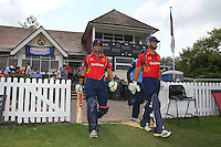Essex opening batsmen Gautam Gambhir (L) and Mark Pettini walk out from the pavilion ahead of play - Essex Eagles vs Derbyshire Falcons - Yorkshire Bank YB40 Cricket at Castle Park, Colchester Cricket Club - 25/08/13 - MANDATORY CREDIT: Gavin Ellis/TGSPHOTO - Self billing applies where appropriate - 0845 094 6026 - contact@tgsphoto.co.uk - NO UNPAID USE