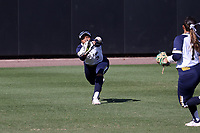 DURHAM, NC - FEBRUARY 29: Leea Hanks #3 of the University of Notre Dame makes a diving catch during a game between Notre Dame and Duke at Duke Softball Stadium on February 29, 2020 in Durham, North Carolina.