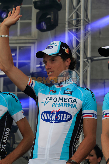 Omega Pharma-Quick Step rider Sylvain Chavanel (FRA) on stage at the Team Presentation Ceremony before the 2012 Tour de France in front of The Palais Provincial, Place Saint-Lambert, Liege, Belgium. 28th June 2012.<br /> (Photo by Eoin Clarke/NEWSFILE)