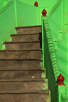 The green staircase street Secene in Varanasi India's holiest city.