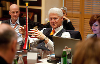 Former United States President Bill Clinton discusses his feelings about the vuvuzuela while speaking to members of the international press during a press conference at the Saxon Hotel in Sandhurst, Johannesburg, South Africa on June 24, 2010.  Clinton is the honorary chairman of the U.S. bid to host the World Cup in either 2018 or 2022.