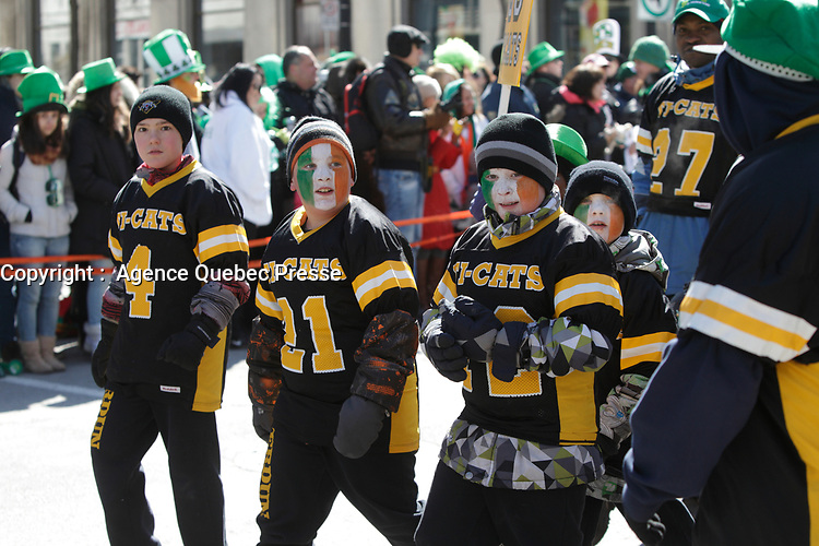 February 17, 2013 File Photo - Saint-Patrick Day parade in downtown Montreal.