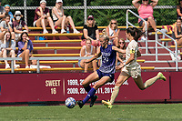 NEWTON, MA - SEPTEMBER 12: Samantha Adams #29 of Holy Cross dribbles down the wing as Michela Agresti #23 of Boston College closes during a game between Holy Cross and Boston College at Newton Campus Soccer Field on September 12, 2021 in Newton, Massachusetts.