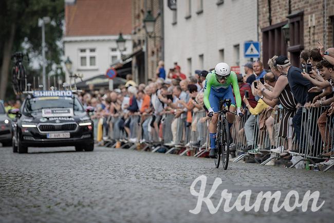 Tadej Pogacar (SVN/UAE-Emirates)<br /> <br /> 88th UCI Road World Championships 2021 – ITT (WC)<br /> Men's Elite Time trial from Knokke-Heist to Brugge (43.3km)<br /> <br /> ©Kramon