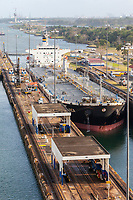 Panama Canal, Panama.  Oil Products Tanker Inca Entering First Lock, Heading South.