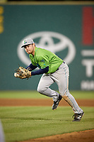 Lynchburg Hillcats second baseman Dillon Persinger (9) makes a running throw during a game against the Salem Red Sox on May 10, 2018 at Haley Toyota Field in Salem, Virginia.  Lynchburg defeated Salem 11-5.  (Mike Janes/Four Seam Images)