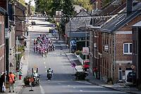 a split-up peloton (due to the fierce pace by Team trek-Segafredo) rolling through town<br /> <br /> 60th Grand Prix de Wallonie 2019<br /> 1 day race from Blegny to Citadelle de Namur (BEL / 206km)<br /> <br /> ©kramon