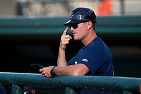 Lakeland Flying Tigers manager Andrew Graham signals his pitcher during a game against the Jupiter Hammerheads on July 30, 2021 at Joker Marchant Stadium in Lakeland, Florida.  (Mike Janes/Four Seam Images)